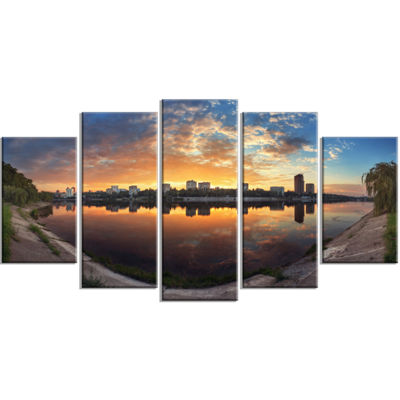 Designart Long Summer Sunset in Yellow Landscape PhotographyCanvas Print - 4 Panels