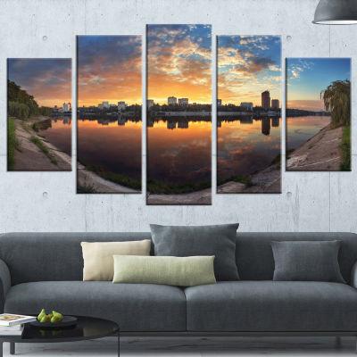 Long Summer Sunset in Yellow Landscape PhotographyCanvas Print - 5 Panels
