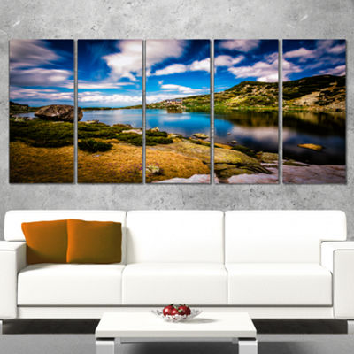 Designart Long View of Seven Rila Lakes LandscapeWrapped Canvas Art Print - 5 Panels