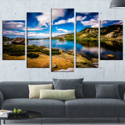 Long View of Seven Rila Lakes Landscape Wrapped Canvas Art Print - 5 Panels