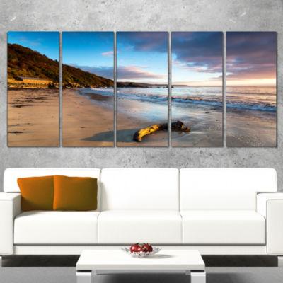 Designart Looe Cornwall Beach At Sunrise Modern Beach Wrapped Canvas Art Print - 5 Panels