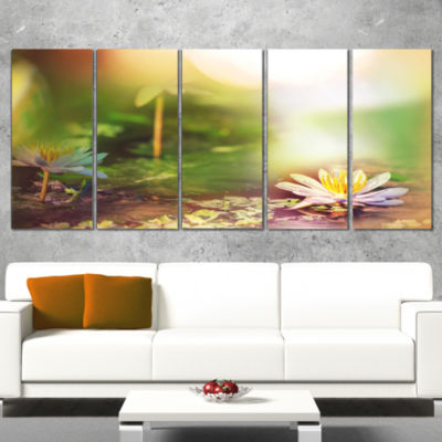Designart Lotus Flowers on Green Background LargeFlower Wrapped Canvas Art Print - 5 Panels