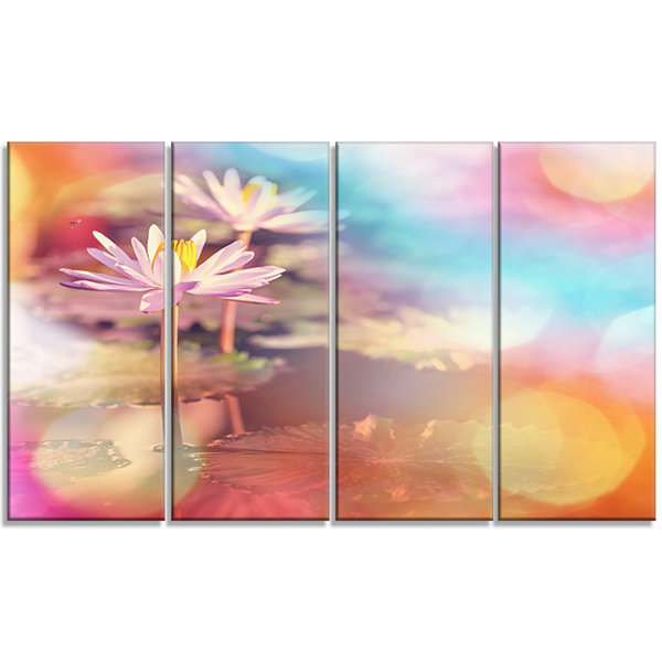 Designart Lotus on Abstract Background Floral Canvas Art Print - 4 Panels