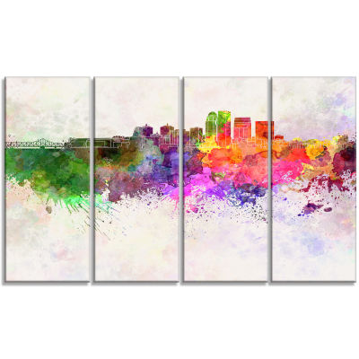 Designart Louisville Skyline Cityscape Canvas Artwork Print- 4 Panels