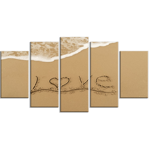 Love Written on Sandy Seashore Seashore Wrapped Canvas Art Print - 5 Panels