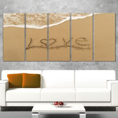 Designart Love Written on Sandy Seashore SeashoreCanvas ArtPrint - 5 Panels