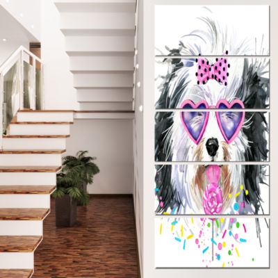 Designart Lovely Dog With Pink Heart Glasses Contemporary Animal Art Canvas - 4 Panels