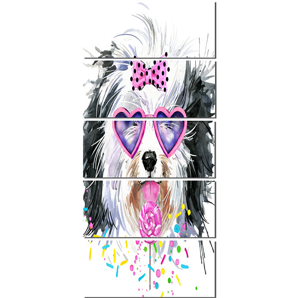 Designart Lovely Dog With Pink Heart Glasses Contemporary Animal Art Canvas - 5 Panels
