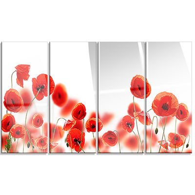 Lovely Poppy Flowers on White Floral Canvas Art Print - 4 Panels
