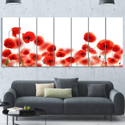 Lovely Poppy Flowers on White Floral Canvas Art Print 7 Panels