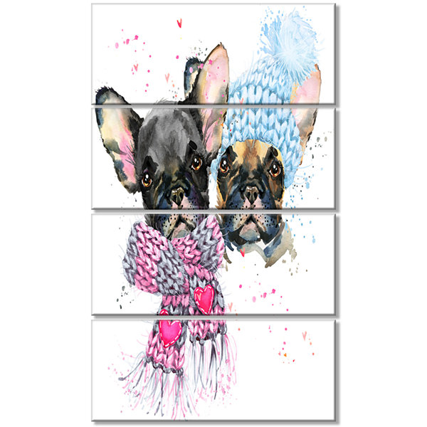 Designart Lovely Puppies With Neck Shawls Contemporary Animal Art Canvas - 4 Panels