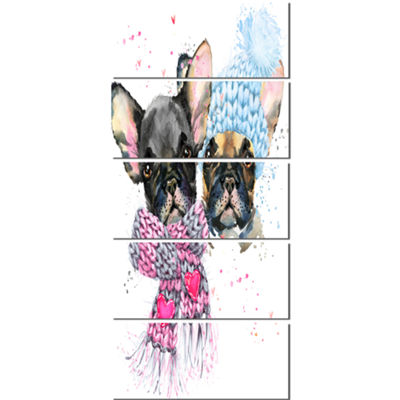 Designart Lovely Puppies With Neck Shawls Contemporary Animal Art Canvas - 5 Panels