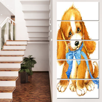Designart Lovely Puppy Dog Watercolor ContemporaryAnimal Art Canvas - 4 Panels