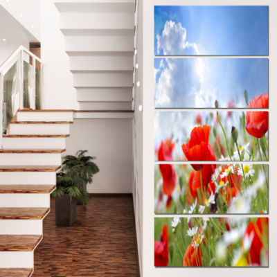 Designart Lovely Red Poppies on Sky Background Floral CanvasArt Print - 4 Panels