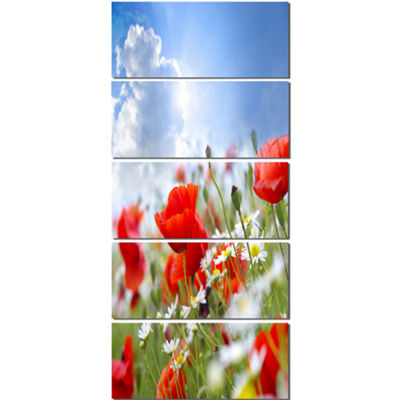 Designart Lovely Red Poppies on Sky Background Floral CanvasArt Print - 5 Panels