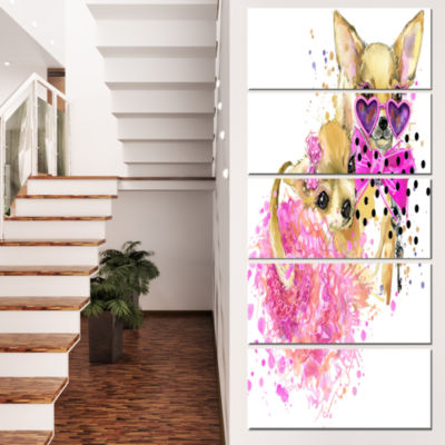 Designart Lovely Sweet Dog Watercolor Abstract Canvas Art Print - 4 Panels