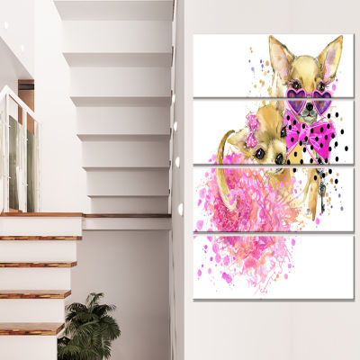 Lovely Sweet Dog Watercolor Abstract Canvas Art Print - 4 Panels