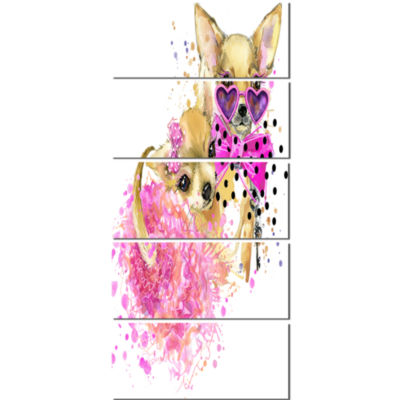Lovely Sweet Dog Watercolor Abstract Canvas Art Print - 5 Panels