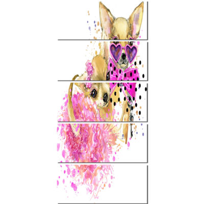 Designart Lovely Sweet Dog Watercolor Abstract Canvas Art Print - 5 Panels