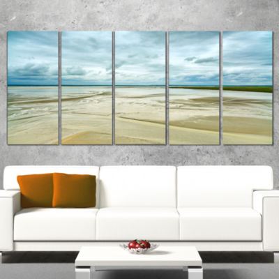 Designart Low Tide in Mont Saint Normandy Oversized Landscape Wall Art Print - 5 Panels
