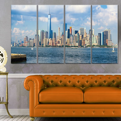Designart Lower Manhattan Skyline Panorama Cityscape CanvasArt Print - 4 Panels