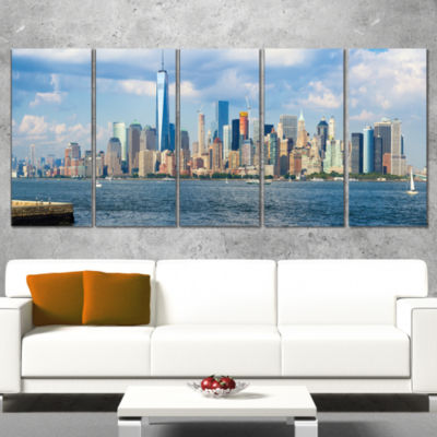 Designart Lower Manhattan Skyline Panorama Cityscape WrappedCanvas Art Print - 5 Panels