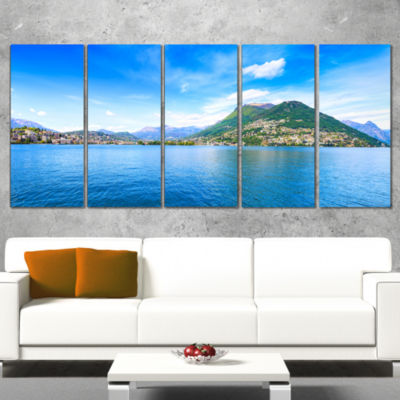 Designart Lugano Lake Ticino Panorama Extra LargeSeashore Canvas Art - 4 Panels