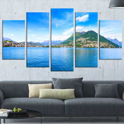 Designart Lugano Lake Ticino Panorama Extra LargeSeashore Wrapped Canvas Art - 5 Panels