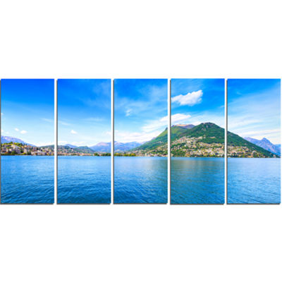 Designart Lugano Lake Ticino Panorama Extra LargeSeashore Canvas Art - 5 Panels