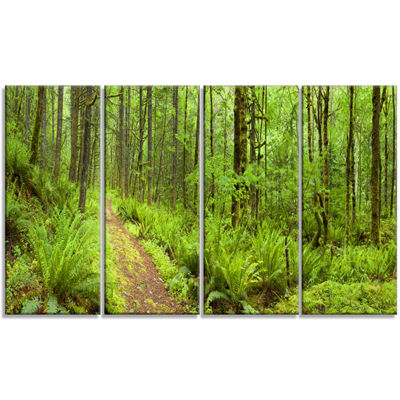 Designart Lush Forest Path Columbia River Forest Canvas WallArt Print - 4 Panels