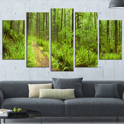 Designart Lush Forest Path Columbia River Forest Canvas Wrapped Wall Art Print - 5 Panels