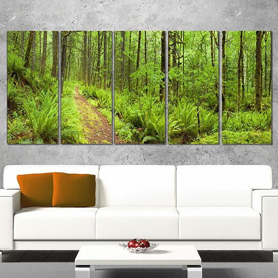 Designart Lush Forest Path Columbia River Forest Canvas Wallart Print 5 Panels
