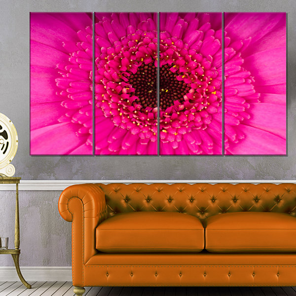 Designart Macro Photo of Gerbera Flower Flowers Canvas WallArtwork - 4 Panels