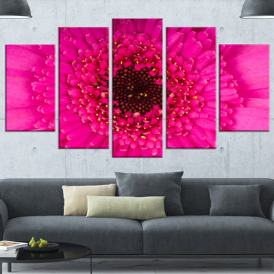 Designart Macro Photo of Gerbera Flower Flowers Canvas Wrapped Wall Artwork - 5 Panels
