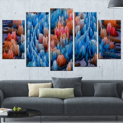 Designart Macro Render Structure Blue Red Large Canvas Art Print - 5 Panels