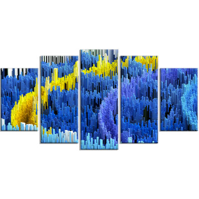Designart Macro Render Structure Blue Yellow Canvas Art Print - 4 Panels