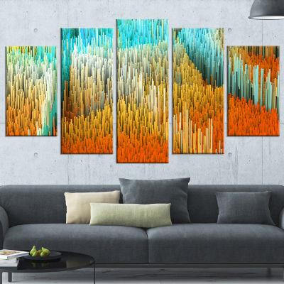 Macro Render Structure Yellow Orange Canvas Art Print - 5 Panels
