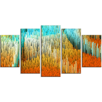 Designart Macro Render Structure Yellow Orange Large CanvasArt Print - 5 Panels