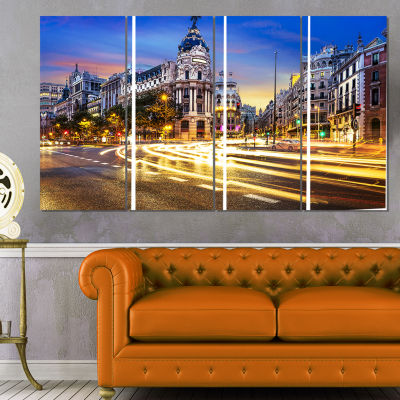 Madrid City Center Cityscape Photography Canvas Print - 4 Panels