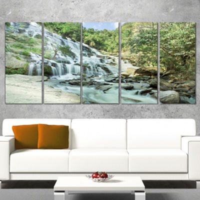 Designart Maeyar Waterfall in Rain Landscape Photography Canvas Print - 5 Panels