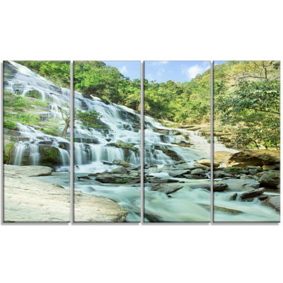 Designart Maeyar Waterfall Landscape Photography Canvas ArtPrint - 4 Panels