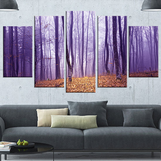 Designart Magenta Foggy Fairytale Forest Forest Wrapped Canvas Art Print 5 Panels