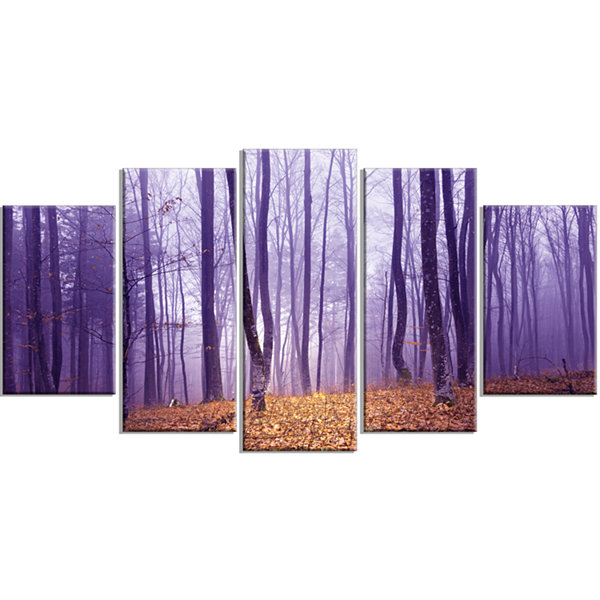Designart Magenta Foggy Fairytale Forest Forest Wrapped Canvas Art Print - 5 Panels