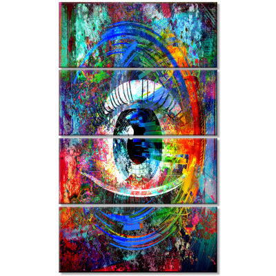 Magic Eye Over Abstract Design Large Abstract Canvas Art - 4 Panels