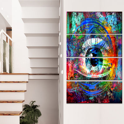 Designart Magic Eye Over Abstract Design Large Abstract Canvas Art - 4 Panels