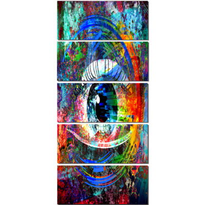 Designart Magic Eye Over Abstract Design Large Abstract Canvas Art - 5 Panels