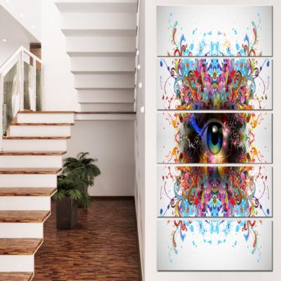 Designart Magic Eye With Flowers Animal Canvas ArtPrint - 5Panels