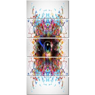 Designart Magic Eye With Flowers Animal Canvas ArtPrint - 5Panels
