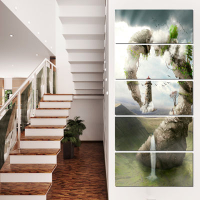 Magical Bridge To Lighthouse Landscape Photo Canvas Art Print - 4 Panels