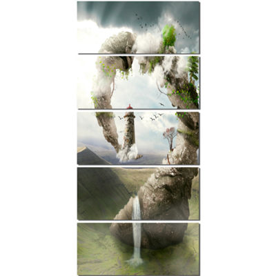 Designart Magical Bridge To Lighthouse Landscape Photo Canvas Art Print - 5 Panels